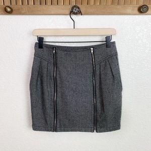 Silence + Noise Herringbone Zipper Wool Mini Skirt